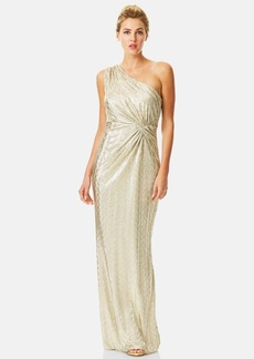 Laundry by Shelli Segal Metallic Cutout One-Shoulder Gown