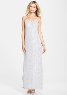 Laundry by Shelli Segal Metallic Knit A-Line Gown