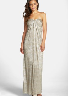 Laundry by Shelli Segal Metallic Knit Strapless Column Gown