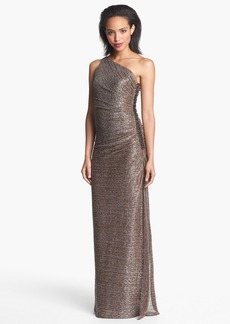 Laundry by Shelli Segal Metallic One-Shoulder Gown