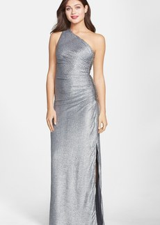 Laundry by Shelli Segal Metallic Ruched One-Shoulder Gown