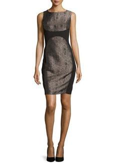 Laundry by Shelli Segal Metallic Snake-Print Ponte Dress, Black Multi