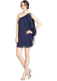 Laundry by Shelli Segal midnight blue stretch embellished one shoulder dress