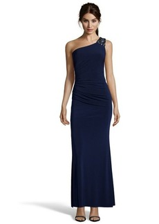 Laundry by Shelli Segal midnight jersey beaded one shoulder cutout detail gown