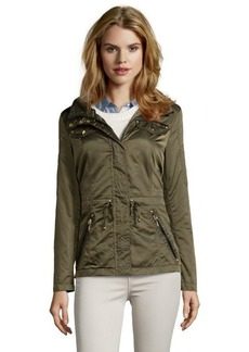 Laundry by Shelli Segal military green water-resistant hooded zip front jacket