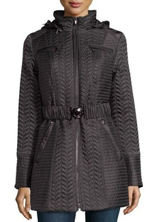 Laundry by Shelli Segal Mini-Petal Quilted Belted Puffer Coat