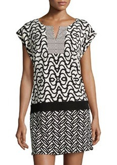Laundry by Shelli Segal Mix-Print Drop-Waist Dress, Black/Multi