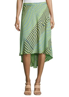 Laundry by Shelli Segal Mix-Print High-Low Maxi Skirt