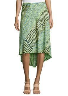 Laundry by Shelli Segal Mix-Print High-Low Maxi Skirt, Citrine/Multi