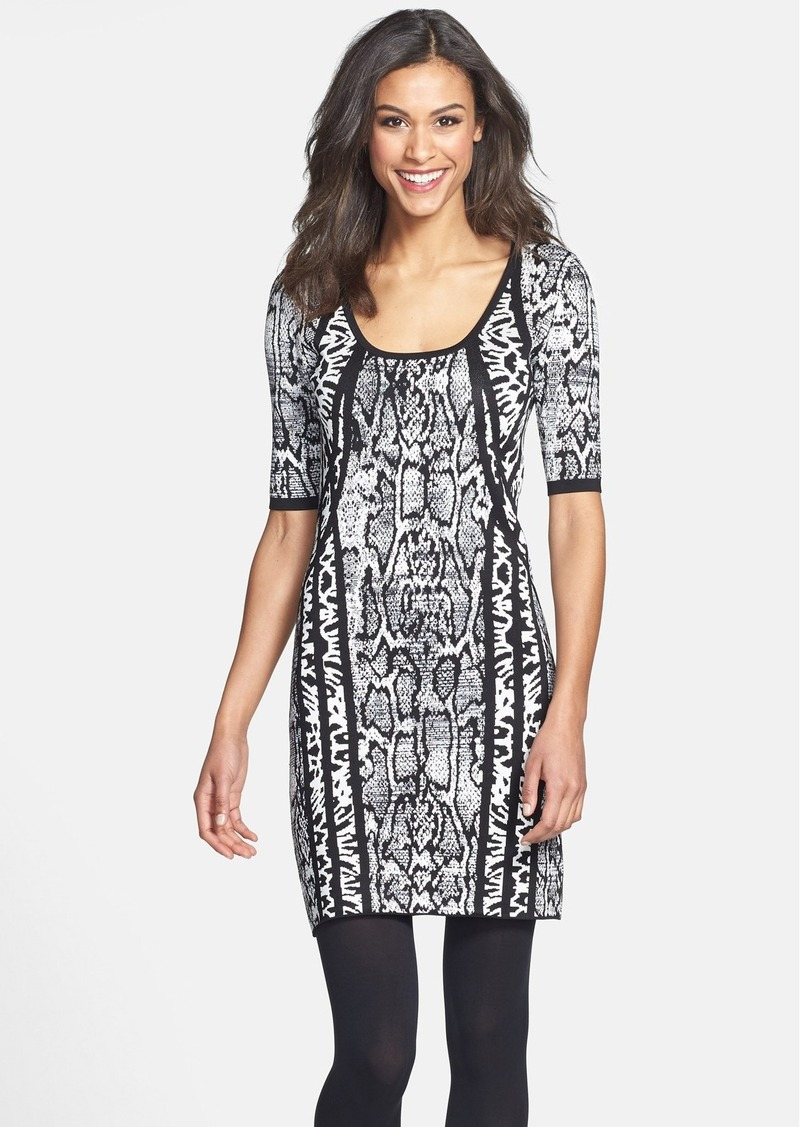 Laundry by Shelli Segal Mixed Animal Pattern Sweater Dress