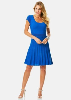 Laundry by Shelli Segal Mixed Knit Fit & Flare Sweater Dress