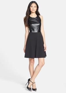 Laundry by Shelli Segal Mixed Media Fit & Flare Dress (Petite)