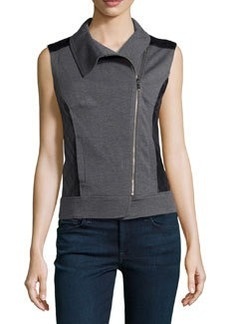 Laundry by Shelli Segal Mixed-Media Zip-Front Vest, Dark Charcoal/Black