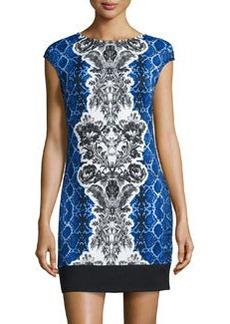 Laundry by Shelli Segal Mixed-Print Scuba Dress, Starlet/Multi