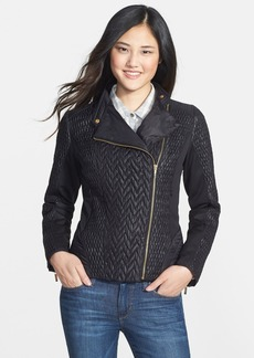 Laundry by Shelli Segal Mixed Quilt Detail Moto Jacket