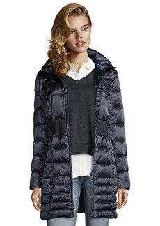 Laundry by Shelli Segal mystic blue box quilted optional faux fur ...