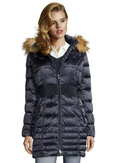 Laundry by Shelli Segal mystic blue box quilted optional faux fur hooded zip front down jacket