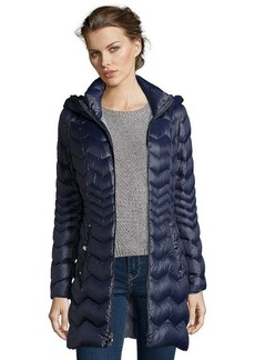 Laundry by Shelli Segal mystic blue chevron quilted 3/4 length hooded down jacket