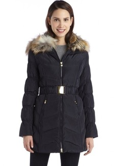 Laundry by Shelli Segal mystic blue quilted down filled faux fur hooded belted jacket