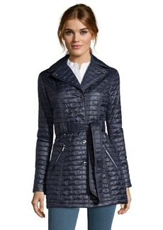 Laundry by Shelli Segal mystic blue quilted snap front belted jacket