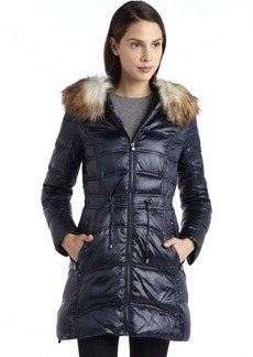 Laundry by Shelli Segal navy quilted down filled zip detail faux fur hooded jacket