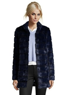 Laundry by Shelli Segal navy wide rib faux fur hook-and-eye front coat