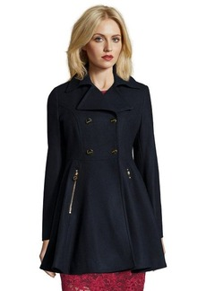 Laundry by Shelli Segal navy wool blend double breasted 3/4 peplum coat