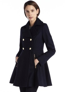 Laundry by Shelli Segal navy wool double breasted peplum coat