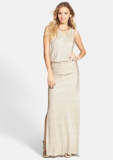Laundry by Shelli Segal Necklace Detail Textured Metallic Blouson Gown