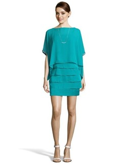 Laundry by Shelli Segal ocean breeze chiffon oversized top tiered bottom dress