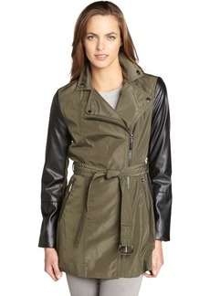 Laundry by Shelli Segal olive and black belted moto trench coat