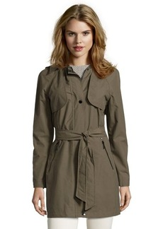 Laundry by Shelli Segal olive and canary woven hooded three-quarter trench coat