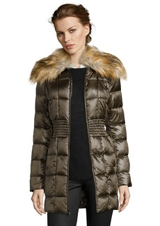 Laundry by Shelli Segal olive box quilted faux fur shawl collar ...