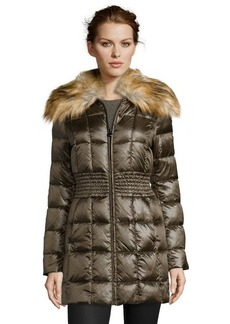 Laundry by Shelli Segal olive box quilted faux fur shawl collar jacket