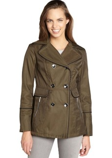 Laundry by Shelli Segal olive green and black cotton woven double breasted trench
