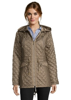 Laundry by Shelli Segal olive green diamond quilted drawstring anorak