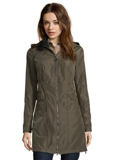Laundry by Shelli Segal olive woven hooded zip-up three-quarter windbreaker