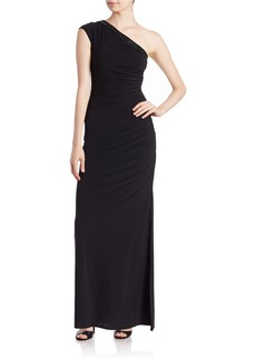 LAUNDRY BY SHELLI SEGAL One-Shoulder Beaded Gown