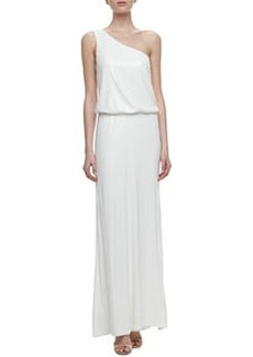 Laundry by Shelli Segal One-Shoulder Blouson Sequin Gown, Pearl