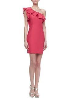 Laundry by Shelli Segal One-Shoulder Cutout Ruffle Dress
