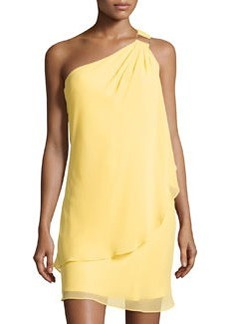 Laundry by Shelli Segal One-Shoulder Draped Chiffon Dress, Canary Yellow