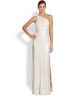 Laundry by Shelli Segal One-Shoulder Embossed Metallic Gown