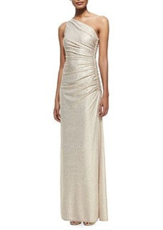 Laundry by Shelli Segal One-Shoulder Foil-Embossed Gown