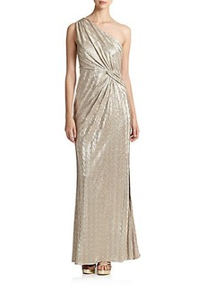 Laundry by Shelli Segal One-Shoulder Foil Gown