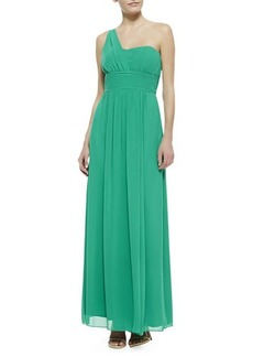 Laundry by Shelli Segal One-Shoulder Gown, Aloe Vera