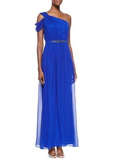 Laundry by Shelli Segal One-Shoulder Gown W/ Beaded Waist