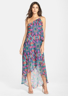 Laundry by Shelli Segal One-Shoulder High/Low Print Dress