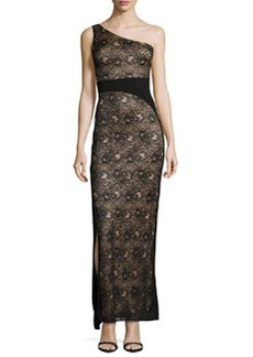 Laundry by Shelli Segal One-Shoulder Lace Gown, Black