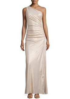 Laundry by Shelli Segal One-Shoulder Ruched Gown, Gold