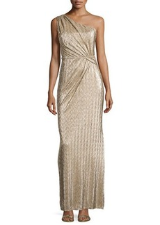 Laundry by Shelli Segal One Shoulder Ruched Gown, Gold